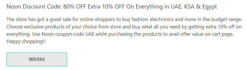 Noon Coupon Code UAE