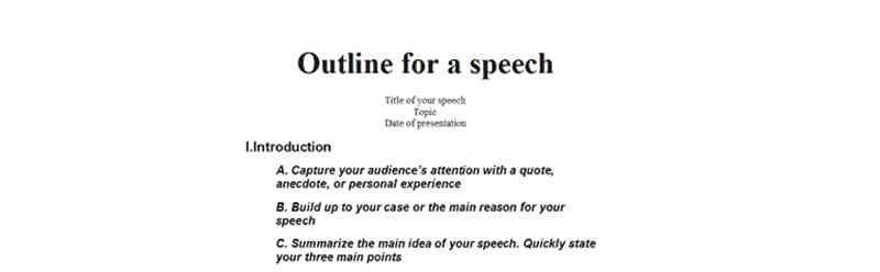 Introduction Speech templates