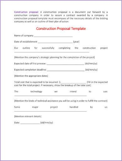 Red and Purple Construction Proposal Sample