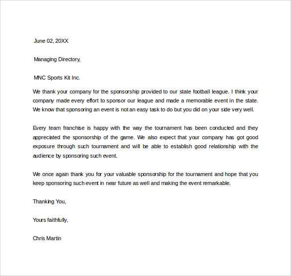 Sports Sponsor Thank You Letter