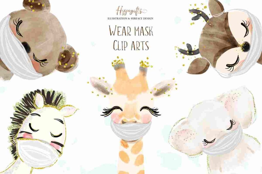 Animals Wear Mask Cliparts