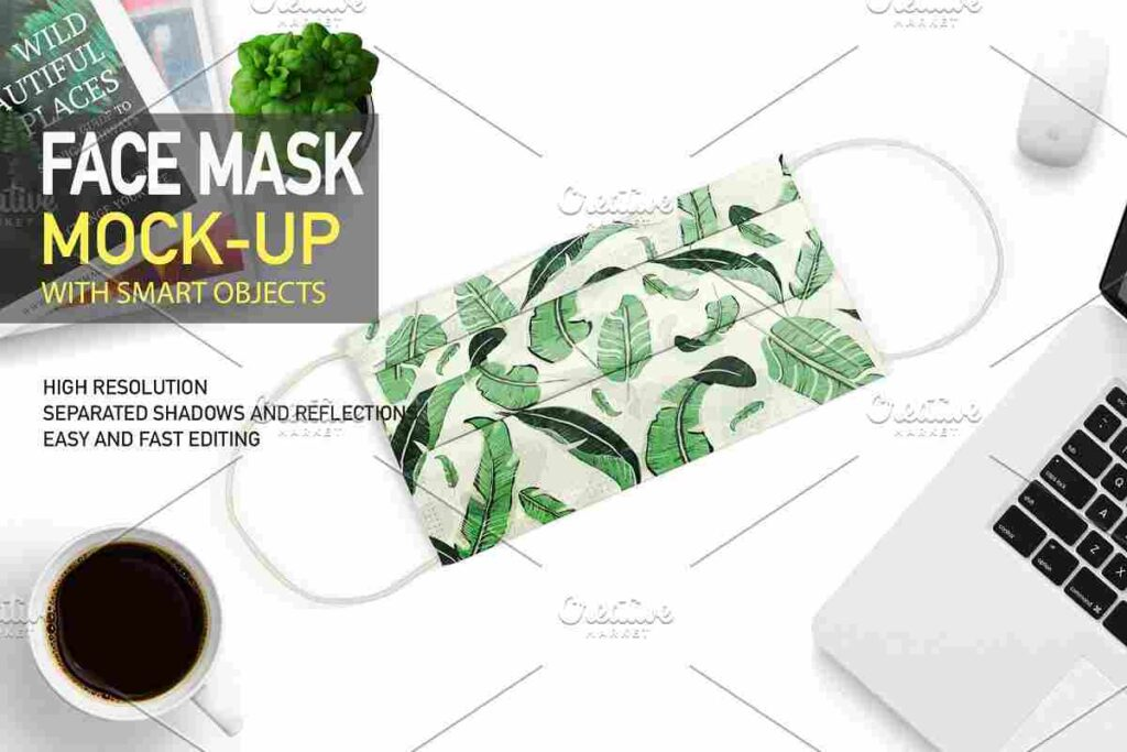 Editable FACE MASK PROTECTION PSD MOCKUP